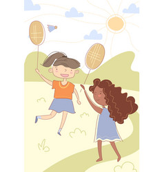 Two young cute multiracial children playing vector
