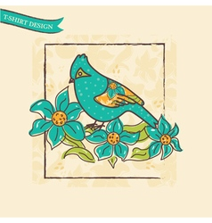 vintage card with a bird and flowers vector image