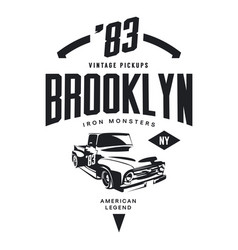 Vintage pickup vehicle tee-shirt logo vector