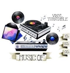 watercolor vinyl turntable and records vector image