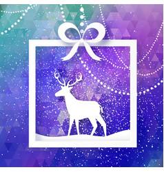 white paper cut deer merry christmas greeting vector image