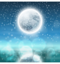 Winter night landscape with fullmoon vector