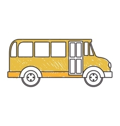 Yellow silhouette school bus to right side vector