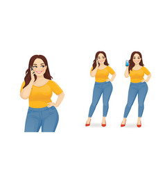 Young big woman with phone vector