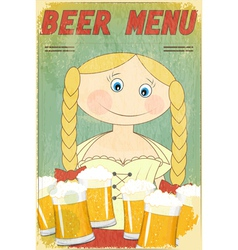 beer retro card - blond girl with beer vector image vector image