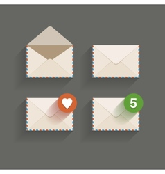 Flat email icons vector image vector image