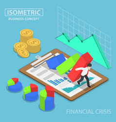 isometric businessman trying to stop falling graph vector image vector image