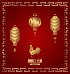 Oriental Banner for Chinese New Year Rooster vector image vector image