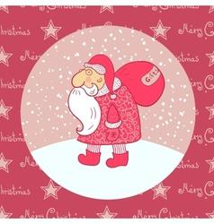 Santa Claus carries his bag vector image vector image