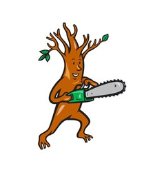 Tree Man Arborist With Chainsaw vector image vector image