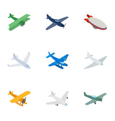 aircraft icons isometric 3d style vector image vector image