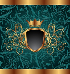 Gold vintage frame with heraldic elements crown vector image