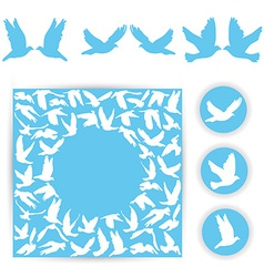 Set design wedding card White doves on a blue vector image