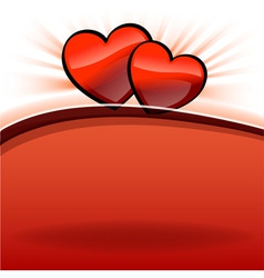 two hearts on the red and white vector image vector image