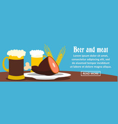 beer and meat banner horizontal concept vector image vector image