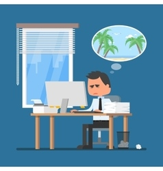 Business man working hard and dreaming about vector image
