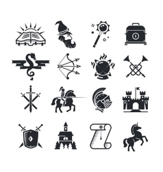 Fantasy tale black icons set vector image vector image