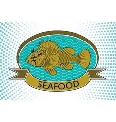 fish label vector image