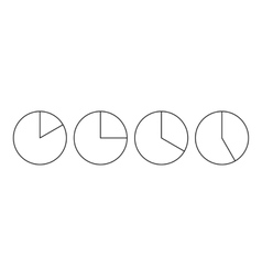 Four circle pie diagrams icon outline style vector image vector image