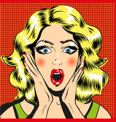 pop art surprised woman face with open mouth comic vector image