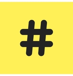 black hashtag icon isolated on yellow background vector image vector image