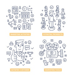 Customers Marketing Doodle Concepts vector image
