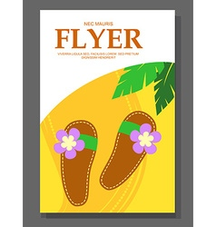Flyer with Beach shoes on the sandy background vector image