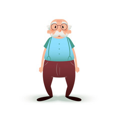 funny cartoon old man character senior in glasses vector image