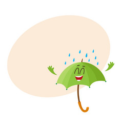 funny green umbrella character with smiling human vector image vector image