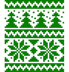 Seamless nordic pattern with stars and fir-trees vector image vector image