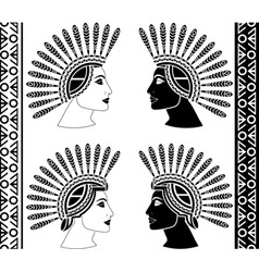 set of mayan woman profiles vector image vector image