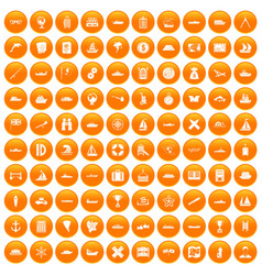 100 shipping icons set orange vector