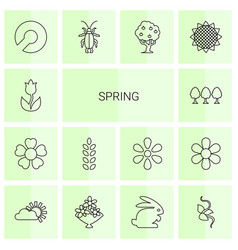 14 spring icons vector