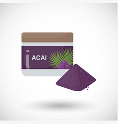 Acai berries powder flat icon vector