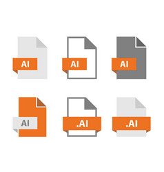 Ai files document icon set ai file format vector