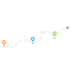Airplanes with dotted flight path dotted trail vector