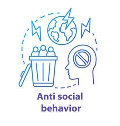Anti social behavior concept icon antisocial vector