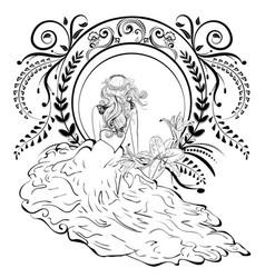 art nouveau bride vector image