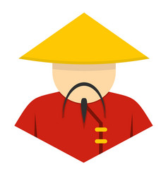 Asian man in conical straw hat icon isolated vector