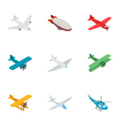 aviation icons isometric 3d style vector image
