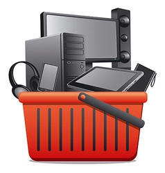 Basket with computer devices vector