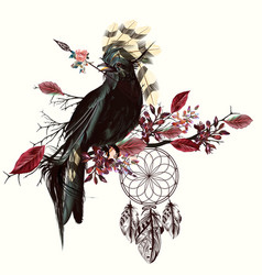 Beautiful bird holding arrow and dreamcatcher vector