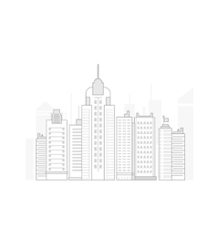 Big line business city in flat style vector