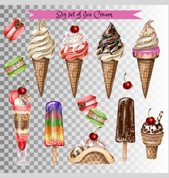 big set of different types of ice cream vector image
