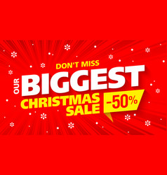 Biggest christmas sale banner vector