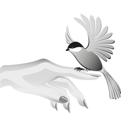 Black and white drawing bird sits on the finder vector