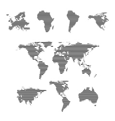 Black linear symbols set world maps on white vector image