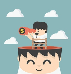 Businessman holding binoculars Looking for money vector