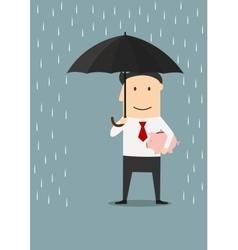 Businessman protecting money with umbrella vector