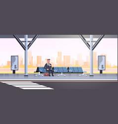 businessman sitting modern bus stop business man vector image